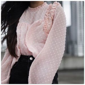 Zara Blush Dot Blouse